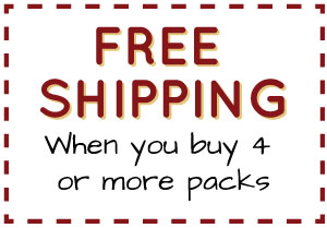 FREE SHIPPING When you buy 4 or more packs